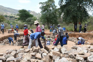 The Water Project: Ndithi Primary School -  Rocks For Tank Construction