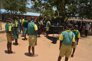 The Water Project: Mung'alu Primary School -  Students Watch Handwashing Lesson