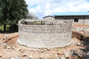 The Water Project: Mung'alu Primary School -  Tank Wall Nears Completion