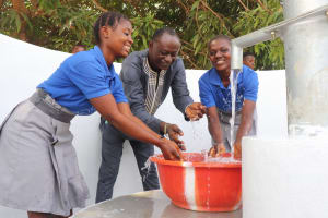 The Water Project: Kankalay Primary and Secondary School -  Principal And Students Celebrate