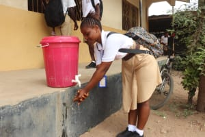 The Water Project: St. Joseph Senior Secondary School -  Student Demonstrating Handwashing