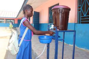 The Water Project: Masoila Roman Catholic Primary School -  Student Demonstrating Handwashing