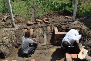 The Water Project: Indulusia Community, Wanyama Spring -  Brickwork And Stone Pitching