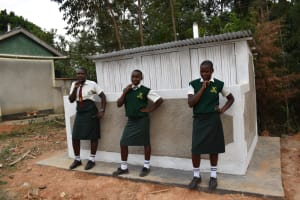 The Water Project: Friends School Manguliro Secondary -  Girls Pose At Their New Latrine Block