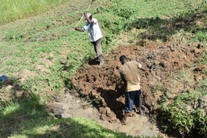 The Water Project: Ikoli Community, Odongo Spring -  Clearing The Drainage Channel