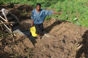 The Water Project: Ikoli Community, Odongo Spring -  Improved Access With The Stairs