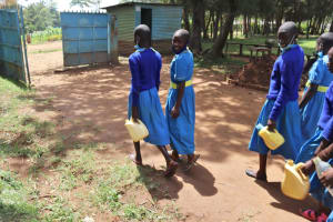 The Water Project: Bukhakunga Primary School -  Pupils Going To The Spring To Fetch Water