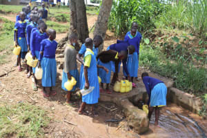 The Water Project: Bukhakunga Primary School -  Pupils Queueing At The Spring As They Fetch Water