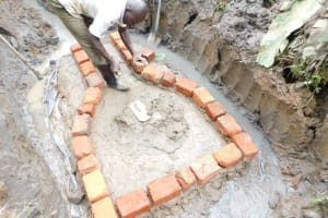 The Water Project: Musango Community, Wambani Spring -  Brickwork Begins