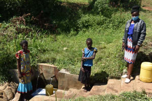 The Water Project: Mahira Community, Jairus Mwera Spring -  Carolyne Branice And Mary At The Spring