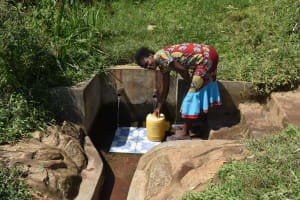 The Water Project: Mahira Community, Jairus Mwera Spring -  Carolyne N Fetching Water