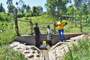 The Water Project: Mukhonje Community, Mausi Spring -  Grace Margret And Nelly