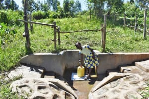 The Water Project: Mukhonje Community, Mausi Spring -  Margret K Fetching Water