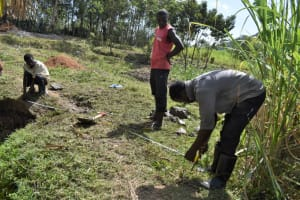 The Water Project: Malekha Central Community, Misiko Spring -  Measurement Of The Site