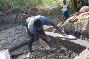 The Water Project: Malekha Central Community, Misiko Spring -  Plastering The Stair Walls