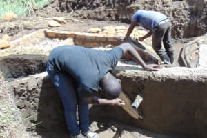 The Water Project: Malekha Central Community, Misiko Spring -  Plasting The Walls