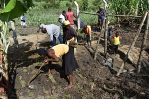 The Water Project: Malekha Central Community, Misiko Spring -  Planting Grass