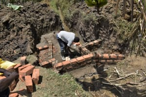 The Water Project: Malekha Central Community, Misiko Spring -  Raising The Walls