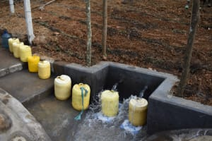 The Water Project: Makhwabuye Community, Majimazuri Lusala Spring -  Containers Lined Up To Fetch Water