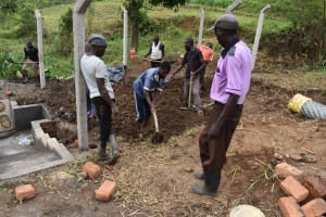 The Water Project: Indulusia Community, Wanyama Spring -  Backfilling Using Soil