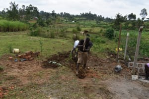 The Water Project: Indulusia Community, Wanyama Spring -  Digging Cut Off Drainage