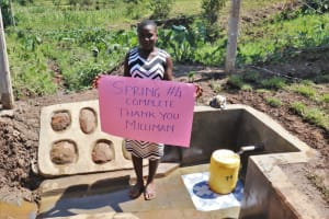 The Water Project: Indulusia Community, Wanyama Spring -  Each Person Thankful In Their Own Way