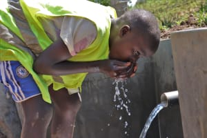 The Water Project: Indulusia Community, Wanyama Spring -  Enjoying A Drink