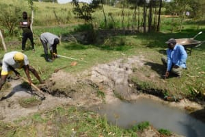The Water Project: Muyundi Community, Magana Spring -  Taking Foundation Measurements Before Excavation