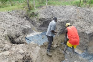 The Water Project: Muyundi Community, Magana Spring -  Laying Of The Foundation