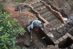 The Water Project: Malanga Community, Malava Housing Spring -  Plastering Interior Of Headwall