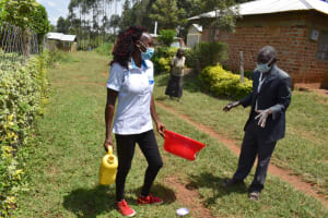 The Water Project: Malanga Community, Malava Housing Spring -  Handwashing Demonstrations