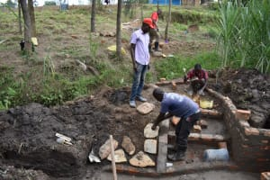 The Water Project: Bukhaywa Community, Violet Inganji Spring -  Stairs And Rub Wall Construction