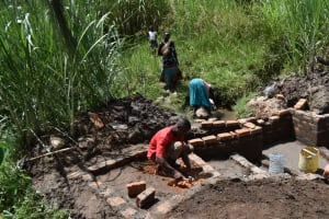 The Water Project: Bukhaywa Community, Violet Inganji Spring -  Stairs Construction And Women Fetching Water