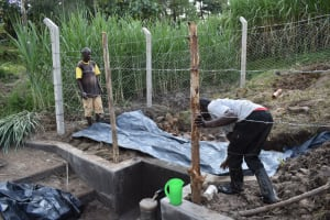 The Water Project: Bukhaywa Community, Violet Inganji Spring -  Backfilling With Polythene