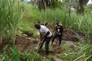 The Water Project: Bukhaywa Community, Violet Inganji Spring -  Diversion Channel Excavation