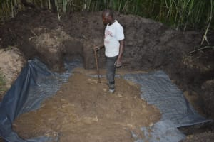 The Water Project: Bukhaywa Community, Violet Inganji Spring -  Slab Setting