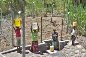 The Water Project: Bukhaywa Community, Violet Inganji Spring -  Community Members At The Spring Getting Water