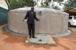 The Water Project: Friends School Manguliro Secondary -  Deputy Principal Gives Thumbs Up At The Tank
