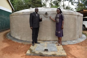 The Water Project: Friends School Manguliro Secondary -  Madam Principal And Her Deputy Pose At The Tank