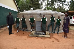 The Water Project: Friends School Manguliro Secondary -  Teachers And Students Pose At The Complete Tank