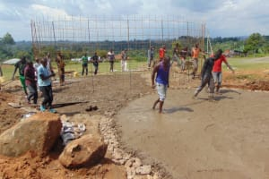 The Water Project: St. Kizito Kimarani Primary School -  Moving The Wire Wall Into Place