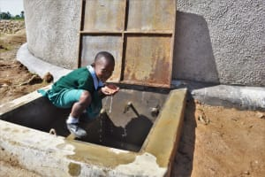 The Water Project: St. Kizito Kimarani Primary School -  A Pupil Drinking Water From The Water Point