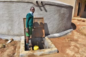 The Water Project: St. Kizito Kimarani Primary School -  Fetching Water From The Tank