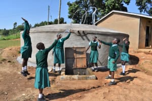 The Water Project: St. Kizito Kimarani Primary School -  Pupils Posing And Celebrating At The Water Point