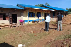 The Water Project: Kapsegeli KAG Primary School -  Measuring The Site For Excavation