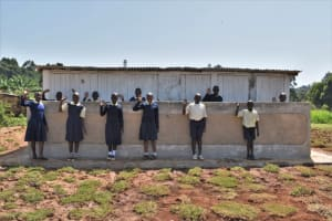 The Water Project: Kapsegeli KAG Primary School -  Students At New Latrine Block