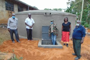 The Water Project: St. Joakim Buyangu Primary School -  The Area Chief And Board Members Inspecting Construction Works