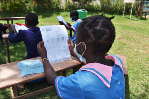 The Water Project: St. Joakim Buyangu Primary School -  Covid Training With Handouts