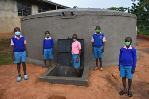 The Water Project: St. Joakim Buyangu Primary School -  Water Users At The Rainwater Ttank