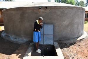 The Water Project: Kapkeruge Primary School -  Cupping Clean Water From The Tank